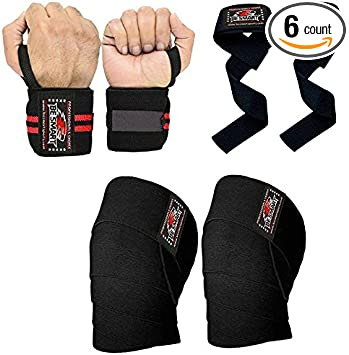 Knee Wraps Weight Lifting Wrist /& Knee Wrap Support Gym Straps Body Building Fit