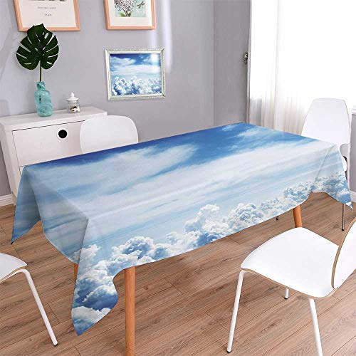 PINAFORE HOME Spillproof Fabric Tablecloth Nuages et le ciel Great for Buffet Table,Wedding & More/Rectangle, 60x 84 Inch