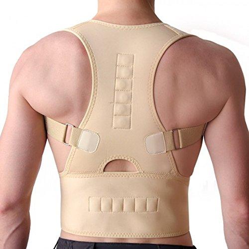 PU Health Pure Acoustics Top Quality Magnetic Posture Corrector Adjustable Strap Back Support Wrap, Medium