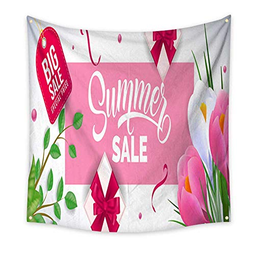 homehot Wall Hanging Tapestry Summer Sale Lettering in Pink Cadre with Irises Gift Boxes Living Room Bedroom Dorm Decor in 32W x 32L Inch ()