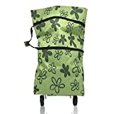 Folding Shopping Bag + Oxford Fabric Collapsible Foldable Shopping Bag on Wheels Shopping Cart Trolley Bag with Wheels (GREEN)