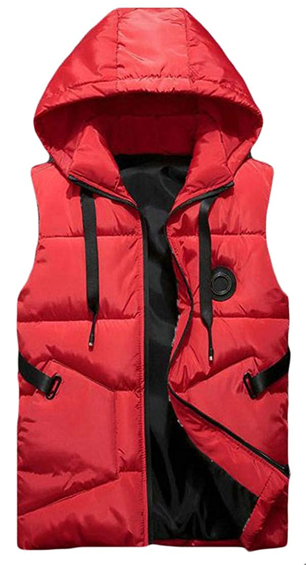 Hajotrawa Mens Quilted Hooded Thicken Solid Zip Pocket Jacket Down Vest