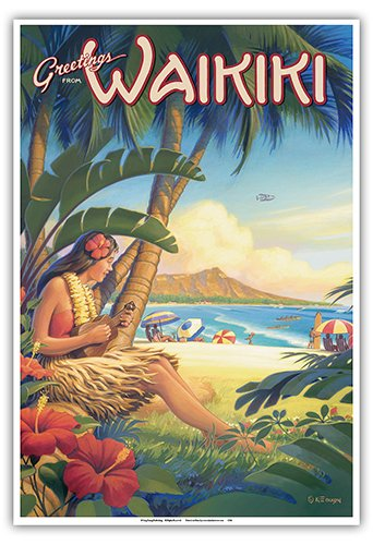 Pacifica Island Art Greetings from Waikiki, Hawaii - Ukulele Hula Girl - Diamond Head Crater - Vintage Style Hawaiian Travel Poster by Kerne Erickson - Master Art Print - 13 x 19in
