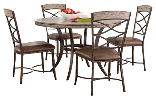 Hillsdale 5984DTBS5 5 Piece Round Dining Set, Washed Gray