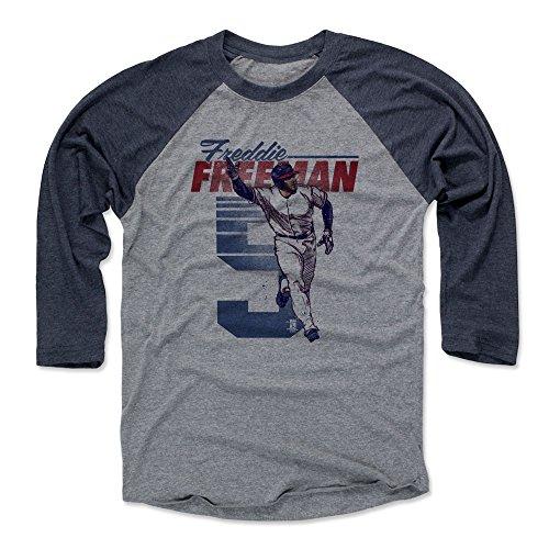 eeman Baseball Tee Shirt Large Navy/Heather Gray - Atlanta Baseball Raglan Shirt - Freddie Freeman Retro B ()