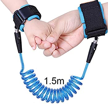 Safety Anti Lost Wrist Link Leash Safety Velcro Harness For Toddler Baby Kid Child (1.5m, Blue)