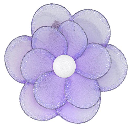 "Bugs-n-Blooms Nylon Flower Medium 8"" Purple Glitter Hanging Mesh Flowers Decorations - Garden Decor for Girls Bedroom, Baby Nursery, Home, Playroom, Wedding, Wall & Ceiling"