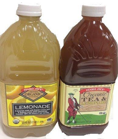 Trader Joe's Organic Lemonade Bundle: Organic Lemonade and Organic Tea & Lemonade- TWO 64 Oz Bottles