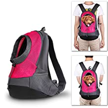Upstartech Dog Cat Pets Carrier Backpack Puppies Travel Carrier Bag for Outdoor Bike Hiking (L, Fuchsia)
