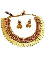 jewels Guru Exclusive Golden Maroon Necklace Set