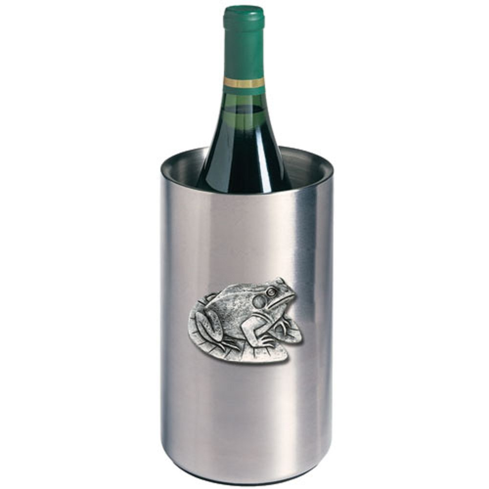 ANIMAL FROG WINE CHILLER, This is a wine chiller made of double-wall insulated stainless steel with a fine pewter logo medallion bonded to the front.