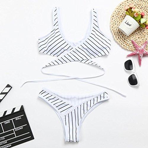 Bain Femme Plage Cross Criss Angelof Bikini 2 De Rembourré Rayé Blanc Haute Pieces Ensemble Culotte Maillot wXwESqT