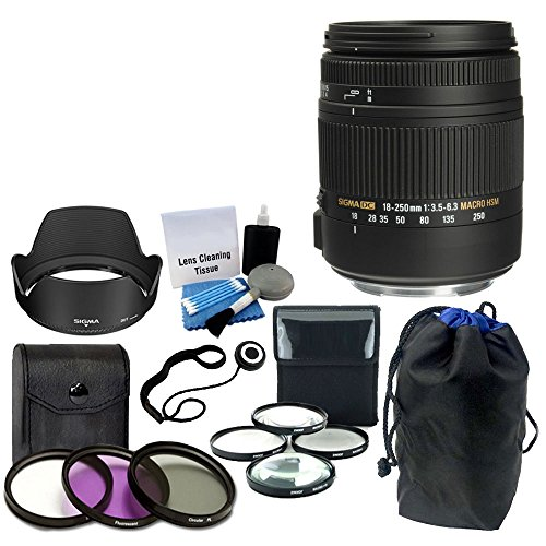 Sigma 18-250mm f3.5-6.3 DC MACRO OS HSM for Canon Digital SLR Cameras + Lens Pouch With 3 Piece Filter Kit (UV-CPL-FLD) 62mm + 4 Piece Close-Up Macro Filter Kit Top Value