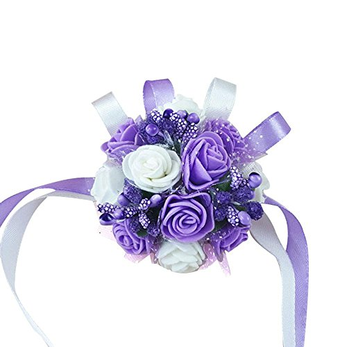 AOLVO Wrist Corsage Wristband, Wrist Flower Wedding Bridal Bridesmaid Wrist Bands Flower Corsage Wristlet Bracelet Silk Artificial Fake Flowers for Prom, Party, Wedding Hand Flower Decor ()