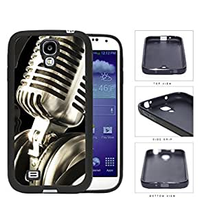 Classic Vintage Microphone And Headphones Rubber Silicone TPU Cell Phone Case Samsung Galaxy S4 SIV I9500