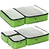 eBags Hyper-Lite Travel Packing Cubes - Lightweight Organizers - Super Packer 5pc Set - (Green)
