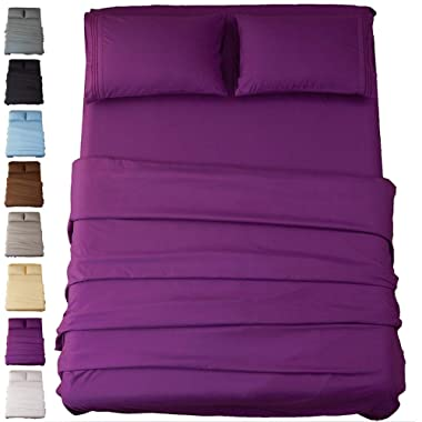 Sonoro Kate Sheets Super Soft Microfiber 1800 Thread Count 18 Inch Deep Pocket 4 Piece Queen Purple