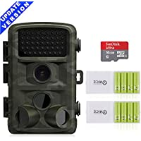 Deer Camera,HUNTOOLER 0.5s Trigger Deer Trail Cameras with Night Vision,and No Glow Infrared Scouting Camera for Deer Hunting. C10 Memory Card and Outdoor Sports Battery for Professional Use Included.
