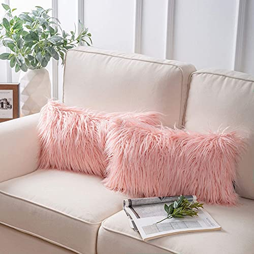 Blue Monkey Tender Luxurious Fur Cushion with Filler, Dimension:12×18 Inches (Pink, 1)