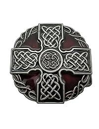 Round Celtic Trinity Rope Knot Cross Belt Buckle Scottish Kilt Zinc Alloy