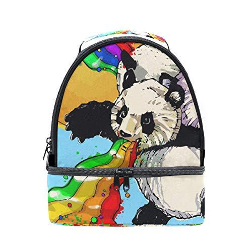 Alinlo pandas Fire Rainbows nuages Boîte à lunch Sac isotherme Cooler Tote avec bandoulière réglable pour Pincnic à l'école
