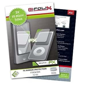 atFoliX Lámina protectora de pantalla FX-Mirror para Nokia C2-02 (3 uds.) - Protector de pantalla con efecto espejo. Máxima calidad