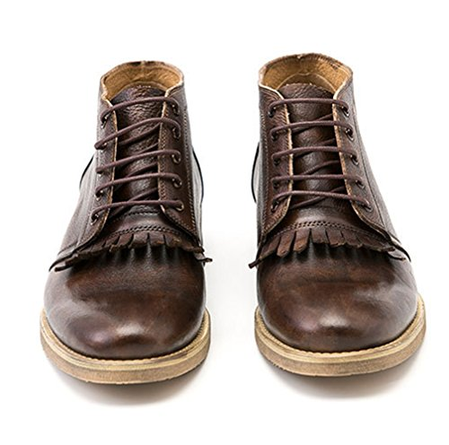 Leather Men's Boots Ankle Lace Genuine Up Tassel Liveinu Coffee dt1qwvv