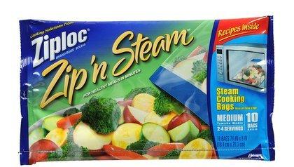 Ziploc Zip'N Steam Cooking Bags, Medium-10 ct (Pack of 6)