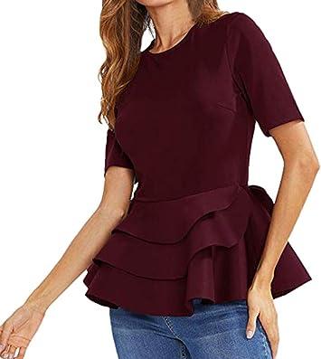 YJYDADA blusa de manga corta con volantes en capas para mujer ...