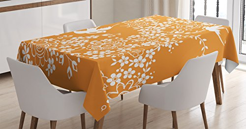 Ambesonne Japanese Tablecloth, Oriental Floral Japanese Style Flying Birds Asia Pastel Colored Spring Pattern, Dining Room Kitchen Rectangular Table Cover, 60 W X 84 L Inches, Marigold White