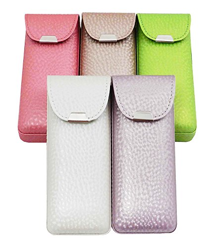 Eyeglass Case Top Snap Closure Metal Embellishment Pearly Shade Of Lime Green