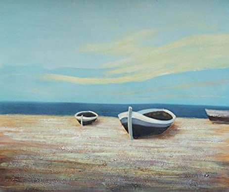 amazon com oil painting 20 x24 small boats on sandy beach ship