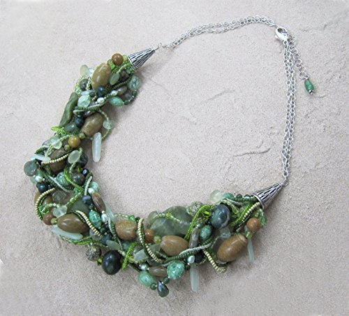 Shades That Vary Green Gemstone Necklace with Green Serpentine, Peridot, Rutilated Quartz, Labradorite and Unakite