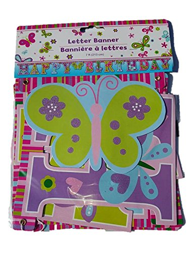 Napkins Cups 18 Greenbrier SG/_B01NCR9921/_US and Banner 20 Happy Birthday Butterfly Party Pack Bundle Girls includes Plates 24 1