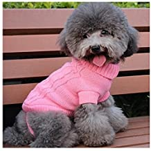 MEXUD Small Pet Warm Sweater Clothes Apparel Costumes Knit Winter Coat For Dog Puppy Cat (XS, Pink)