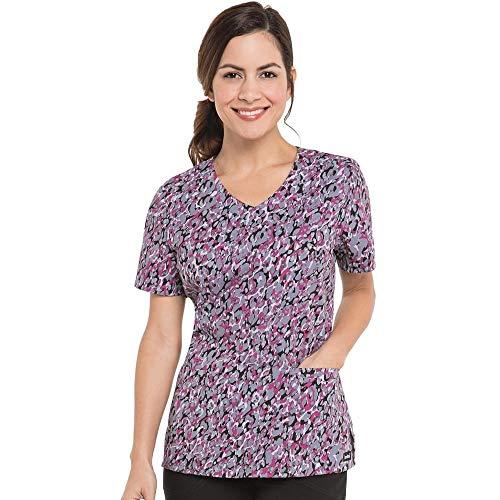 (Landau Women's V-Neck Animal Print Tunic Scrub Top X-Large)