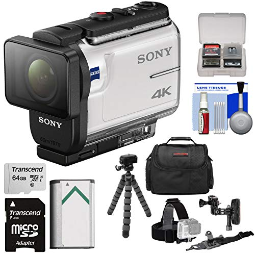 Sony Gps - Sony Action Cam FDR-X3000 Wi-Fi GPS 4K HD Video Camera Camcorder with Arm & Helmet Mounts + 64GB Card + Battery + Case + Flex Tripod + Kit