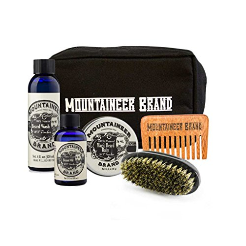 Ultimate Beard Care Kit by Mountaineer Brand | Contains Beard Conditioner Oil, Balm, Wash, Brush, and Wood Beard Comb | Includes Durable Canvas Travel Bag (Timber Scent)