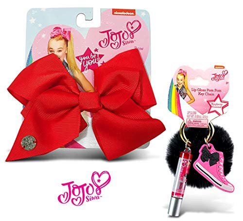 Warp Gadgets Bundle - JoJo Siwa Red Basic Bow Raspberry Lip Gloss Black Furry Keychain (2 -