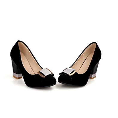 00cef7d9857 AmoonyFashion Womens Closed Round Toe High Heel Chunky Heel PU Frosted Solid  Pumps with Bowknot
