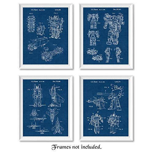 Original Transformer Toys Patent Poster Prints, Set of 4 (8x10) Unframed Photos, Wall Art Decor Gifts Under 20 for Home, Office, Studio, Man Cave, College Student, Teacher, Comic-Con & Movies Fan