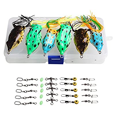 Sougayilang Hollow Frog Fishing Lures Soft Topwater Baits with Tackle Box for Bass Snakehead Saltwater Freshwater Fishing