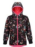 Therm Softshell Girls Rain Jacket - Waterproof All-Weather Hoodie Raincoat (10, Butterfly)