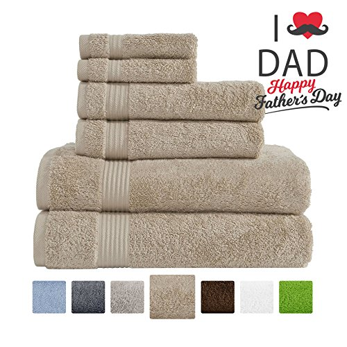 Hotel & Spa Quality Super Absorbent and Soft, 100% Genuine Cotton, 6 Piece Turkish Towel Set for Kitchen and Decorative Bathroom Sets Includes 2 Bath Towels 2 Hand Towels 2 Washcloths, Sand Taupe