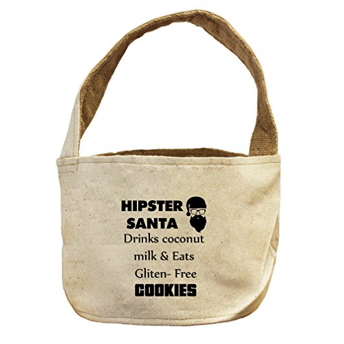 Hipster Santa & Eats GlutenFree Cookies Canvas and Burlap Storage Basket
