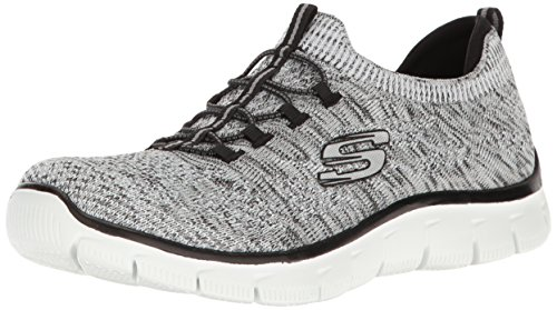 sharp Thinking Cordones negro Para Sin Skechers Zapatillas Empire Mujer Blanco U5EwawqT