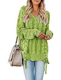 Womens Pullover Sweaters Plus Size Cable Knit V Neck Lace Up Long Sleeve  Fall Jumper Tops 58c94ba14