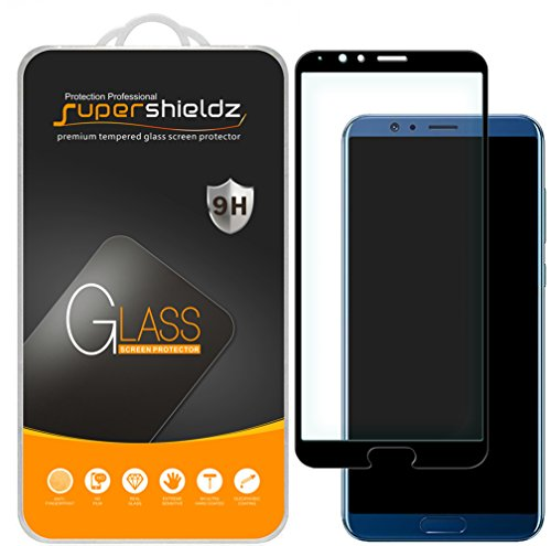 [2-Pack] Supershieldz for Huawei Honor V10 Tempered Glass Screen Protector, [Full Screen Coverage] Anti-Scratch, Bubble Free, Lifetime Replacement (Black)