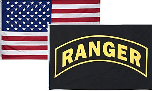 ALBATROS 3 ft x 5 ft USA American with U.S. Army Ranger Flag 2 Pack for Home and Parades, Official Party, All Weather Indoors -