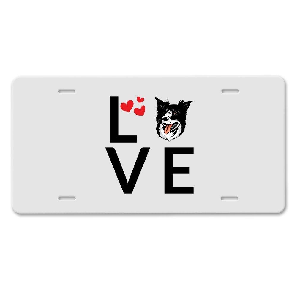 KSLIDS Border Collie Hund Love Hearts Auto Aluminium Nummernschild ...